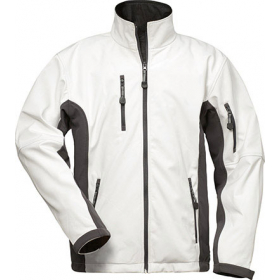Softshell-Jacke weiß/grau, mit Fleece-Innenseite