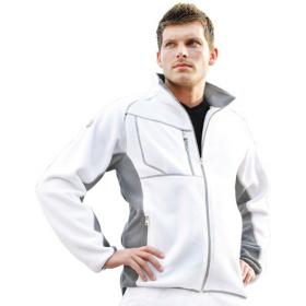 Fleece-Jacke, weiß/grau