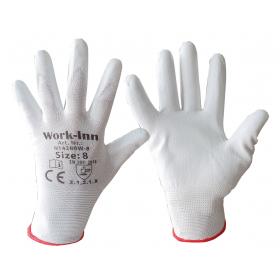Feinstrick-Handschuhe mit PU-Beschichtung, weiß
